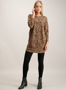 Beige Animal Print Soft Touch Tunic