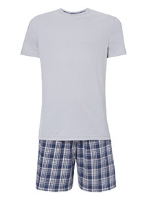 Lilac Short Sleeve T-Shirt and Checked Shorts Pyjama Set