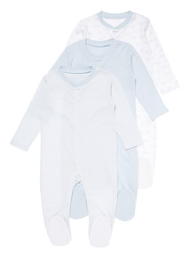 3 Pack Blue Sleepsuits (0-24 months)