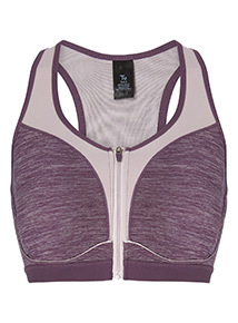 Purple Zip Front Sports Bra