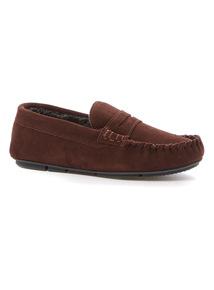 Suede Saddle Moccasin Slippers