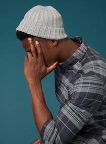 Premium Grey Chunky Knit Beanie Hat
