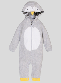 Grey Penguin Hooded Romper (0-24 Months)