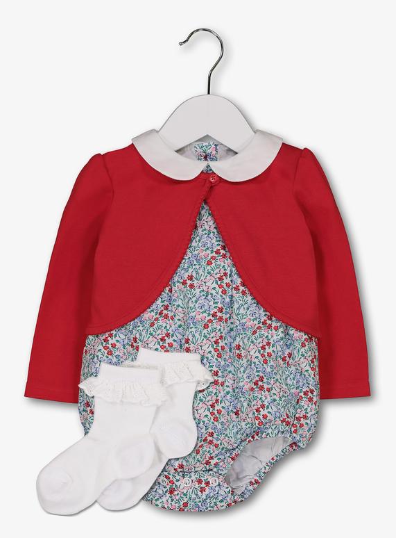 c93658dc5 Baby Multicoloured Woven Romper, Cardigan & Socks Set (0- 24 Months ...