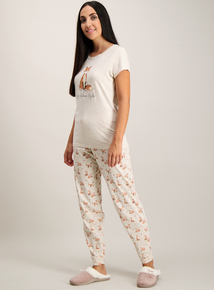 Oatmeal Fox Print Pyjama Set