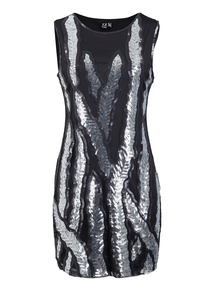 IZABEL Black Sleeveless Sequin Dress