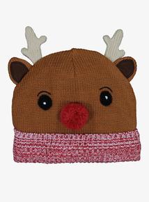Christmas Multicoloured Rudolph Beanie Hat (1-13 Years)