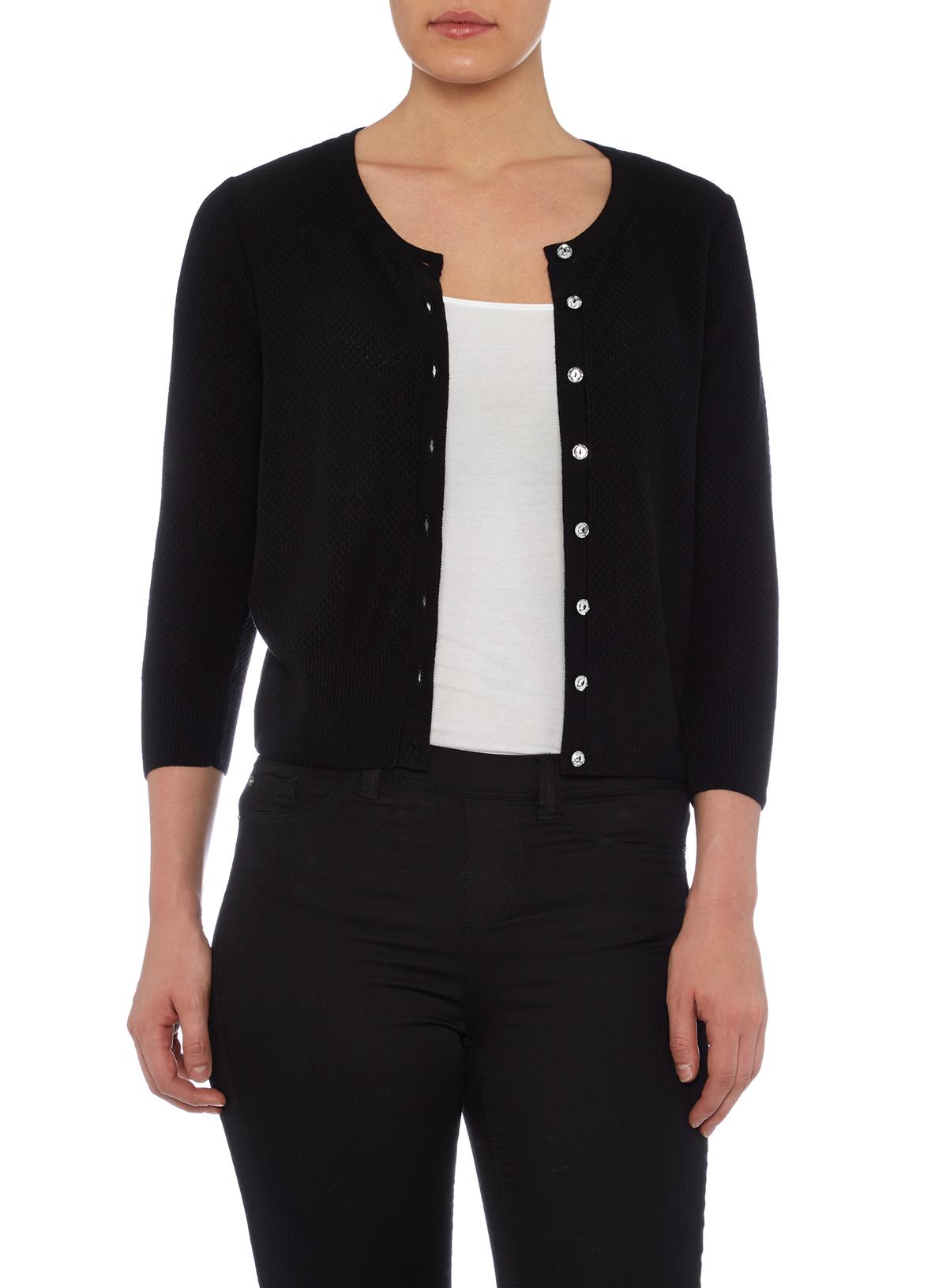 Womens Black Textured Cropped Cardigan | Tu clothing