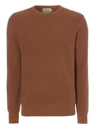 9b314059c630ad Menswear Light Brown Waffle Crew Jumper | Tu clothing