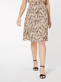 Palm Leaf Print Full Skirt