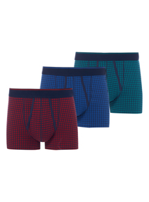 Multicoloured Gingham Trunks 3 Pack (Now available in sizes XS to XXXL)