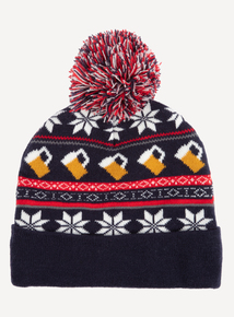 Christmas Multicoloured Cheers Pom-Pom Beanie Hat