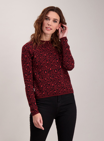 Dark Red Animal Print Jumper