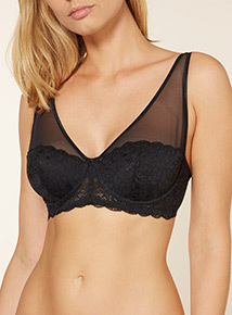 Non-Padded Leaf Lace Plunge Bra