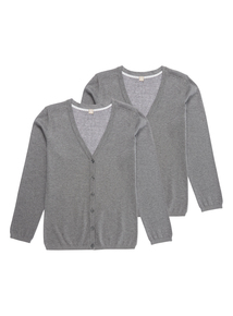 Girls Grey Cardigans 2 Pack (13-16 years)