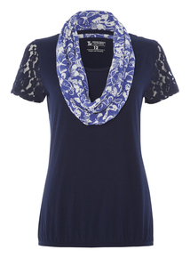 Navy Bubble Hem Top With Scarf