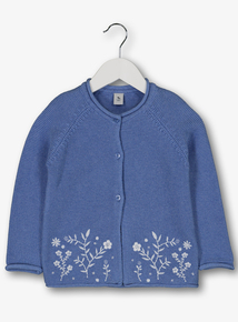 Blue Floral Embroidered Cardigan (9 Months - 6 Years)