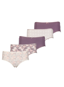 Multicoloured Leaf Print Midi Knickers 5 Pack
