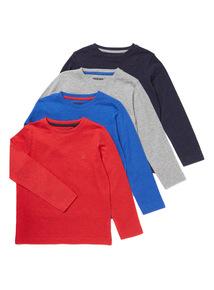 4 Pack Multicoloured Plain Long-Sleeve Tees (9 months-6 years)