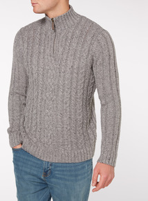 Grey Zip Neck Cable Jumper