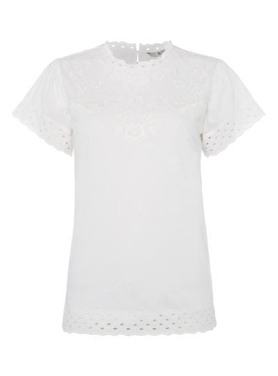 White Appliqué High Neck Top