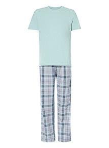 Mint Tee and Mint Check Trousers Pyjama Set