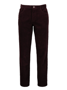 Burgundy Corduroy Straight Leg Trousers