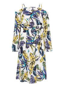 Palm Print Cold Shoulder Dress