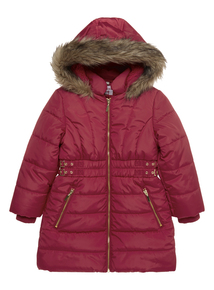 Girls Red Side Buckle Coat (3-12 years)