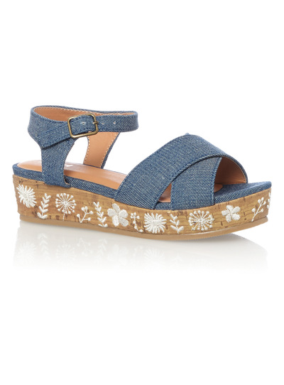 Girls Blue Embroidered Wedge Sandals