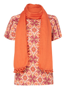 Gypsy Print Top With Scarf