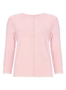 Pink  Lurex Textured Cardigan