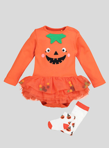 Halloween Orange Pumpkin Tutu Bodysuit With Tights (newborn-24 months)