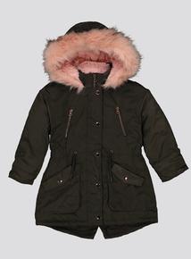 Khaki Parker Coat With Pink Faux Fur Trim (3-14 years)