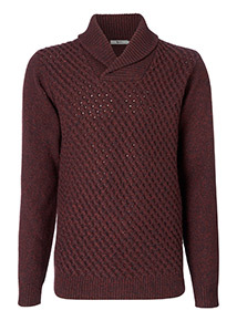 Burgundy Shawl Neck Jumper