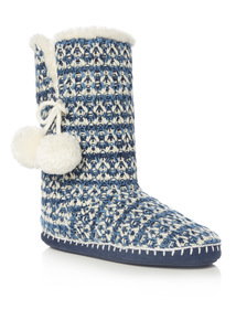 Navy Knitted Texture Boot