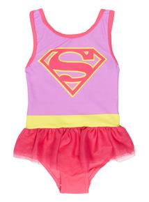 Girls Multicoloured Supergirl Swimsuit (1 - 8 years)