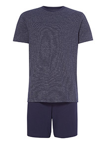 Navy Stripe T-Shirt and Shorts Pyjama Set