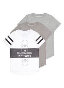 Boys No Skateboarding T-Shirt 3 Pack (3 - 12 years)