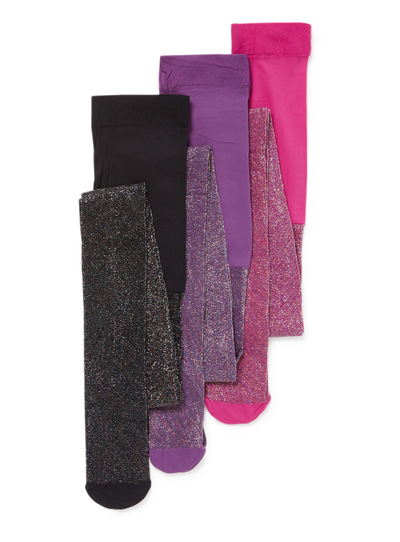 3 Pack Multicoloured Disco Glitter Opaque Tights (2-12 years)