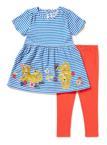 Girls Multicoloured Applique Top and Leggings Set (9 months-6 years)