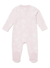 Pink Moon and Stars Sleepsuit (0-24 months)