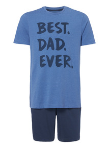 Blue Best Dad Tee And Shorts PJ Set