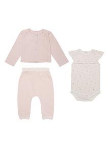 Pink Bodysuit Jogger And Cardigan Set (0 - 12 months)