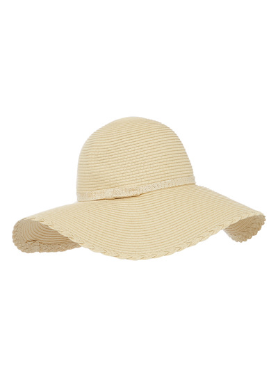 Natural Scalloped Edge Floppy Hat