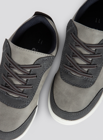 Dark Grey Faux Lace-Up Shoe