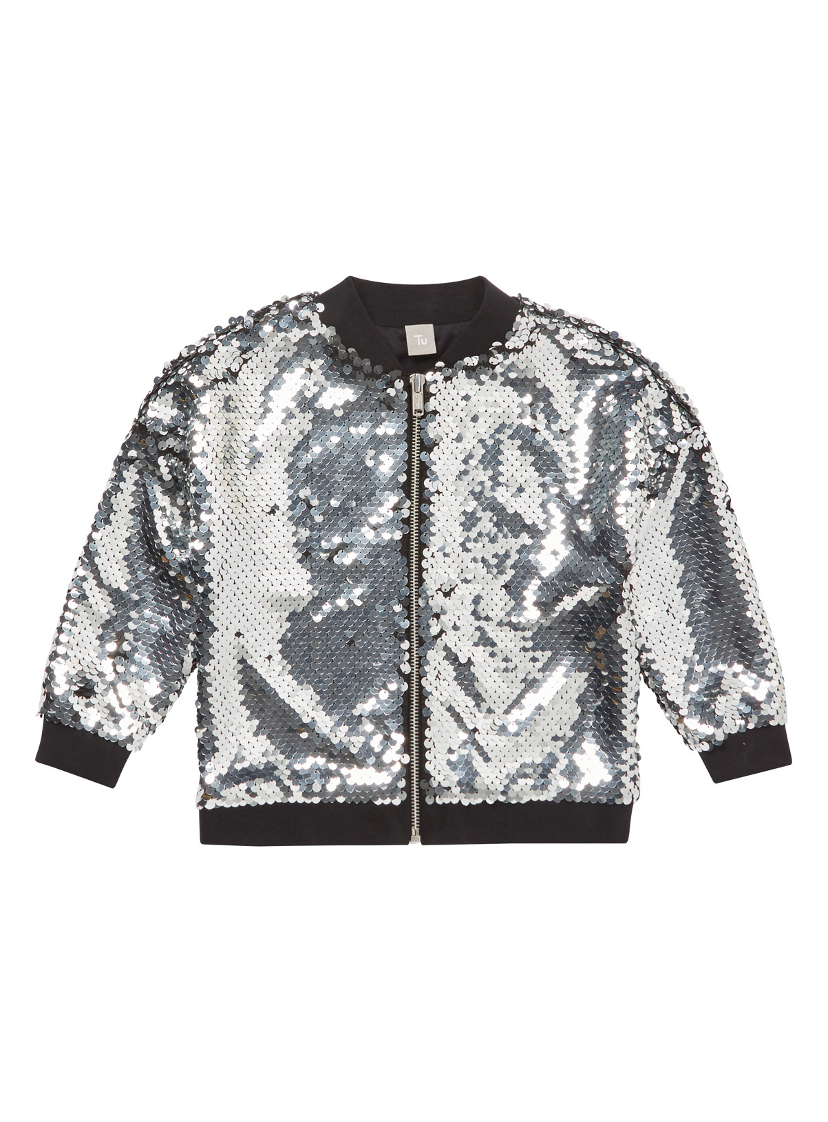 All Girl's Clothing Silver Sequin Bomber Jacket (3-14 years) | Tu ...