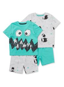 2 Pack Multicoloured Monster Pyjamas (1-6 years)