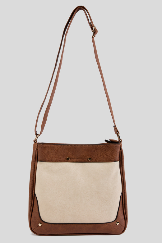 b640043381d5 Womens Tan   Cream Faux Leather Cross Body Bag