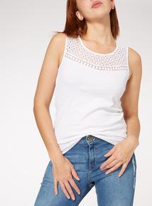 PETITE White Lace Yoke Vest